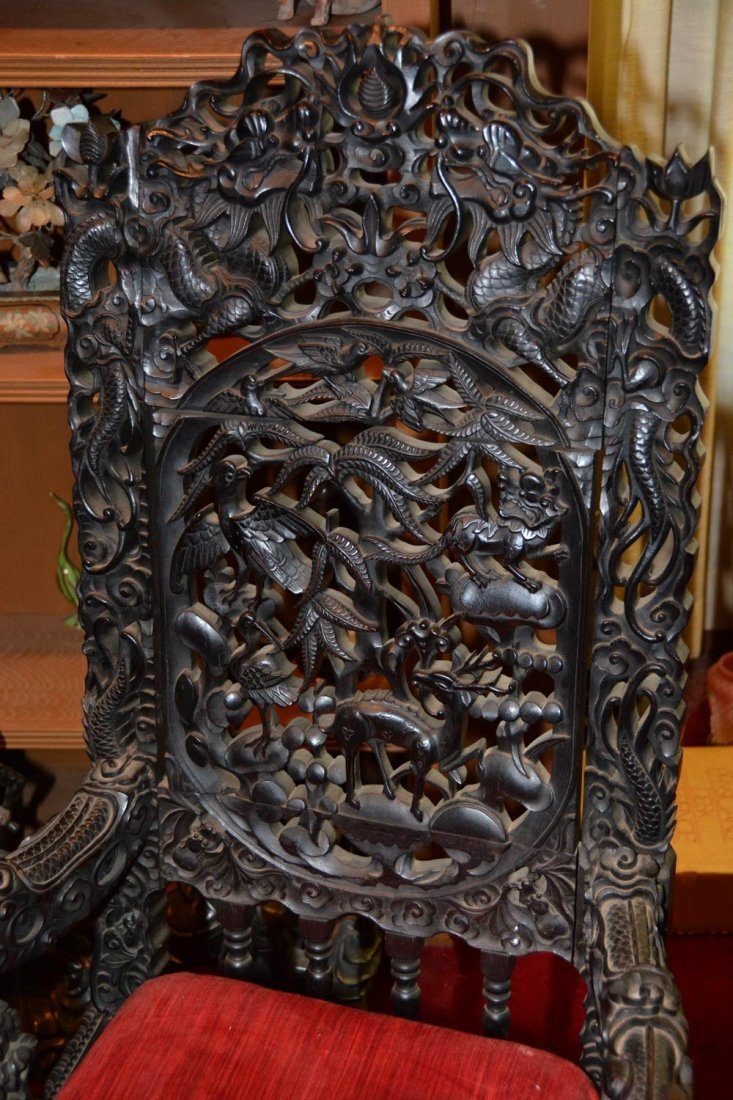 """31"""" X 49"""" ROUND ORIENTAL CARVED LIBRARY TABLE WITH (3) - 5"""