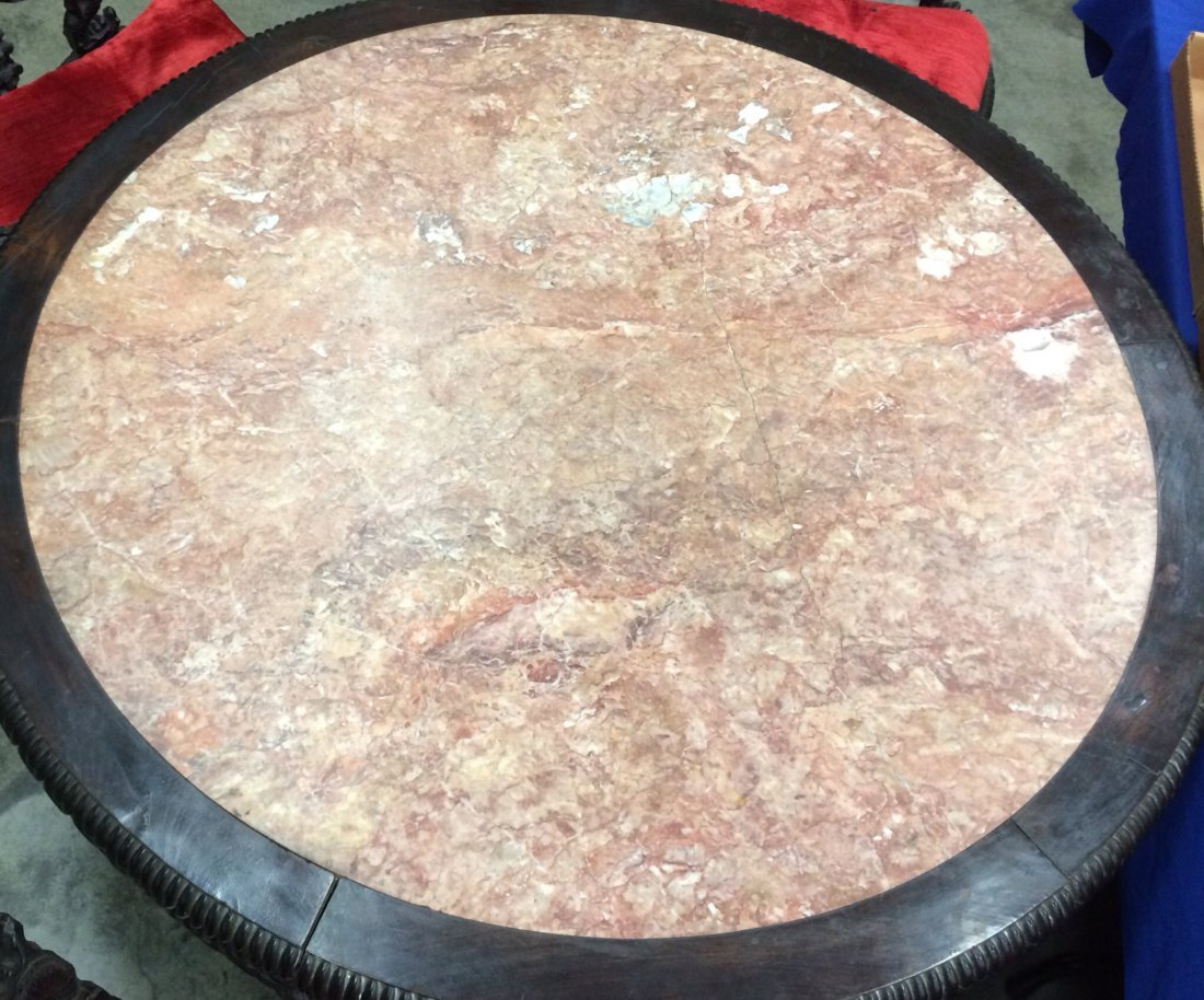 """31"""" X 49"""" ROUND ORIENTAL CARVED LIBRARY TABLE WITH (3) - 8"""