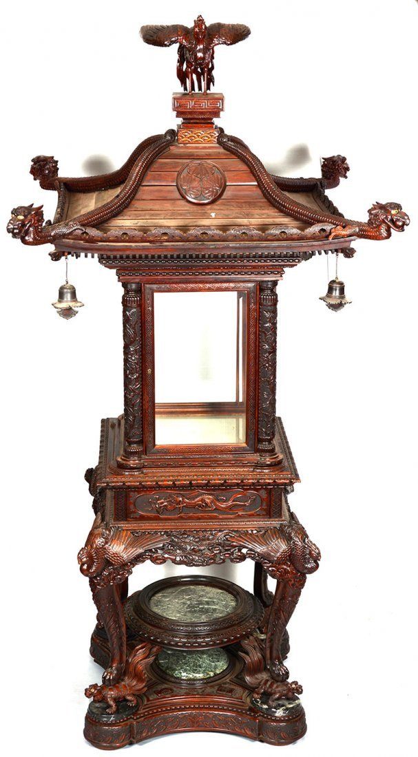 "MAGNIFICENT 108"" X 54"" ORNATELY CARVED JAPANESE DISPLAY"