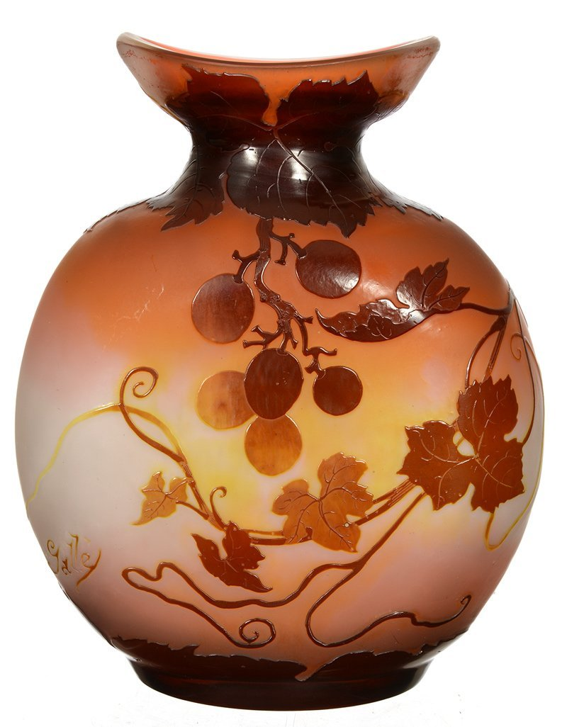 """8 1/2"""" X 7"""" SIGNED GALLE FRENCH CAMEO ART GLASS VASE"""