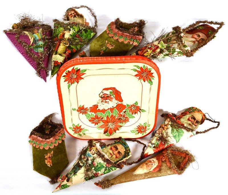 Christmas Tree Auction: (8) VINTAGE CHRISTMAS TREE ORNAMENT GIFT POCKETS