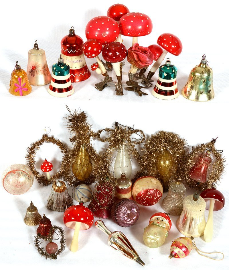 OVER (30) VINTAGE BLOWN GLASS CHRISTMAS TREE ORNAMENTS