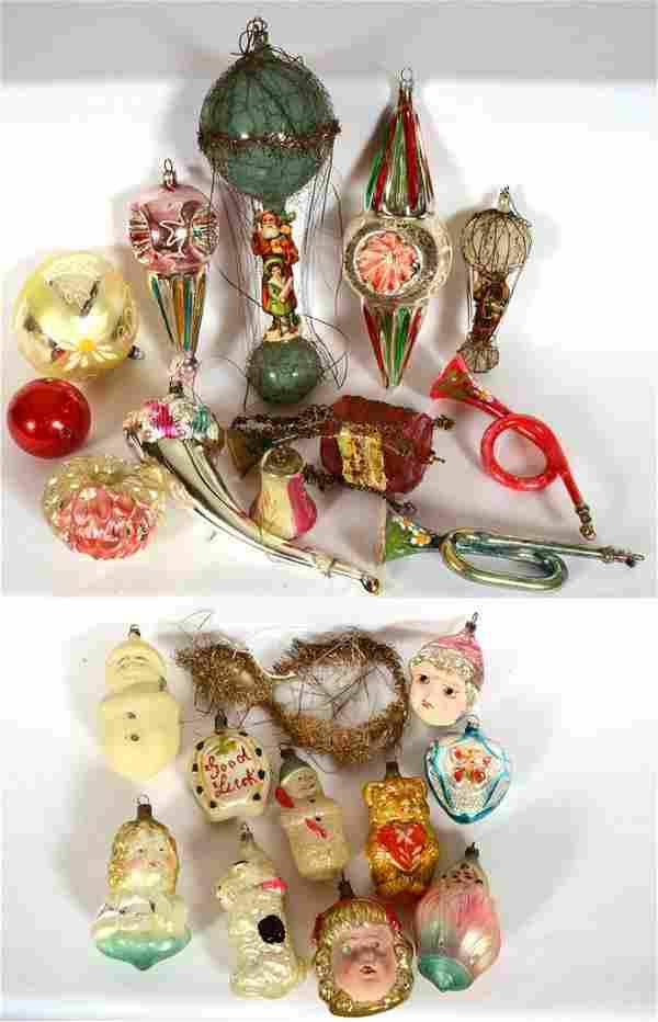 (22) VINTAGE BLOWN GLASS CHRISTMAS TREE ORNAMENTS