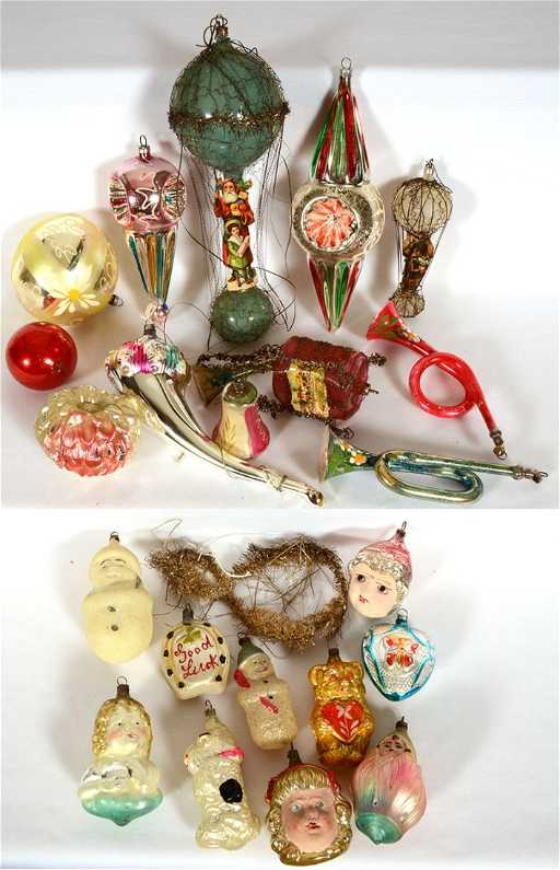 22 Vintage Blown Glass Christmas Tree Ornaments