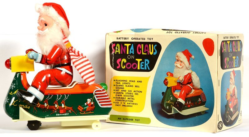 "VINTAGE ""SANTA CLAUS ON SCOOTER"" BATTERY OPERATED TOY"