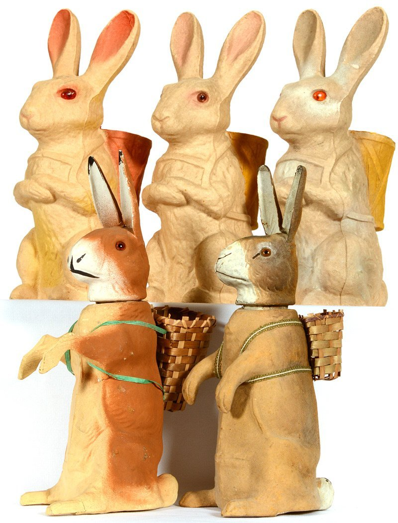 (5) VINTAGE EASTER BUNNY CANDY CONTAINERS