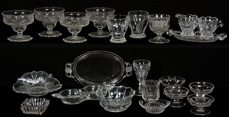 BOX OF ASSORTED PATTERN GLASS ITEMS