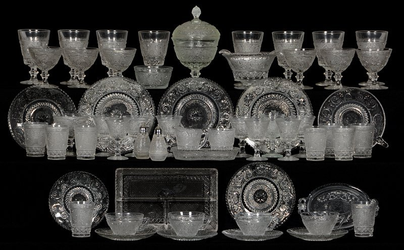 (57) PIECE SET OF PATTERN GLASS STEM AND SERVICE WARE