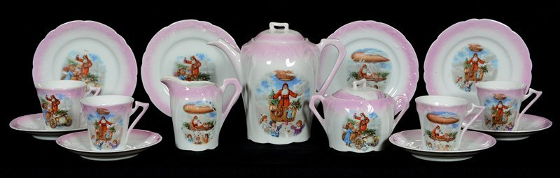 (15) PIECE SET UNMARKED GERMANY CHILDREN'S TEA SET