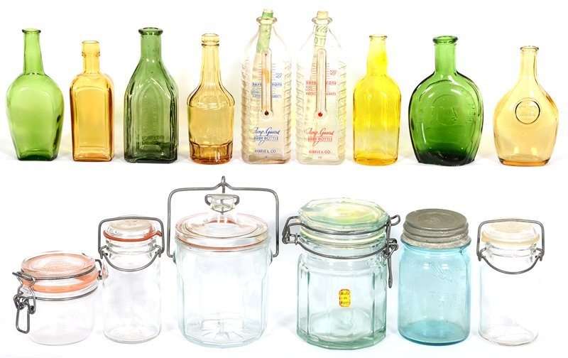 (15) ASSORTED GLASS JARS AND BOTTLES