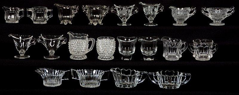 (10) PAIR MINIATURE PATTERN GLASS CREAMER AND SUGAR