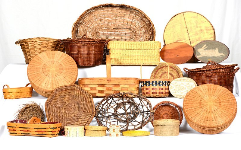 OVER (20) AMERICAN BASKETS OF VARIOUS STYLES AND SIZES