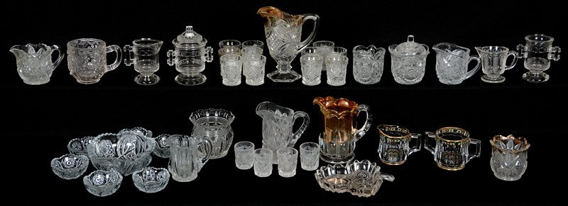 OVER (35) CLEAR PATTERN GLASS CHILDREN'S ITEMS