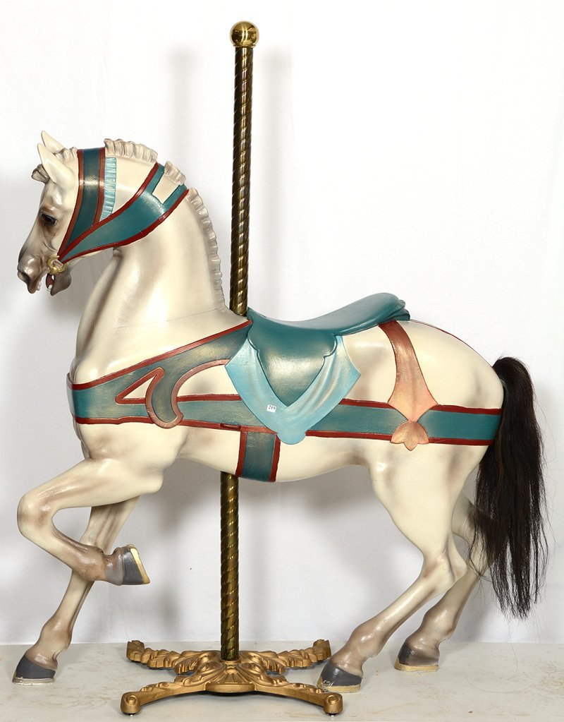 """AUTHENTIC 56"""" X 54"""" CAROUSEL HORSE CARVED BY DENTZEL"""