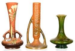3 ROSEVILLE ART POTTERY BUD VASES