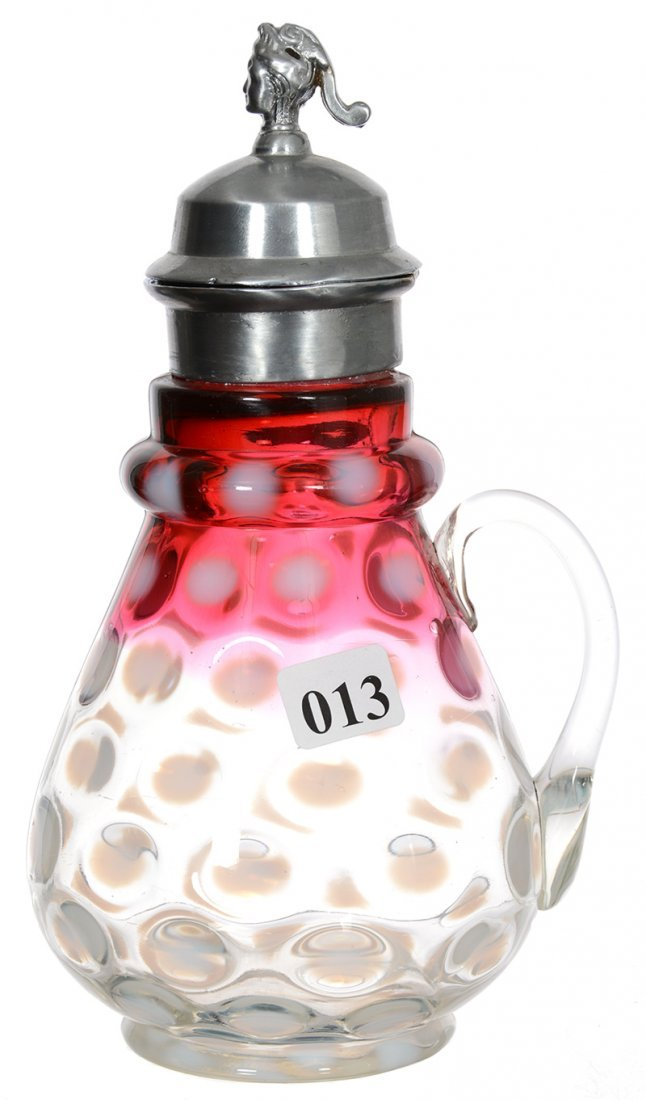 "7 1/2"" CRANBERRY OPALESCENT COINSPOT ART GLASS SYRUP"