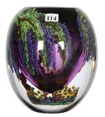 """7 1/2"""" X 6"""" CONTEMPORARY ART GLASS PAPERWEIGHT VASE"""