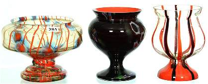 3 MARKED CZECHOSLOVAKIA ART GLASS VASES