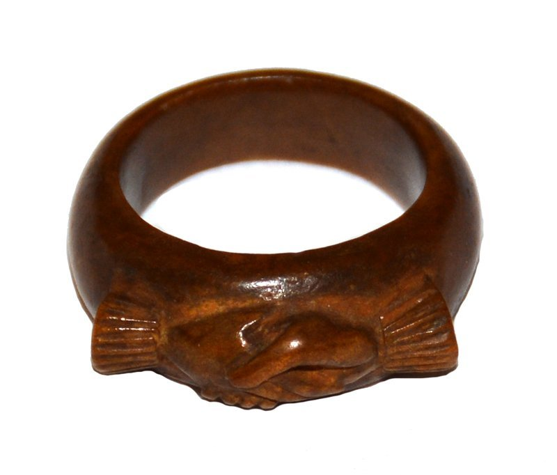 CARVED VINTAGE WOOD RING