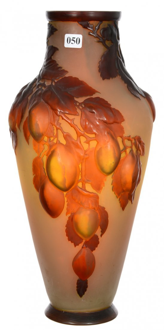 """15"""" X 7"""" SIGNED GALLE FRENCH CAMEO ART GLASS BLOWN MOLD"""