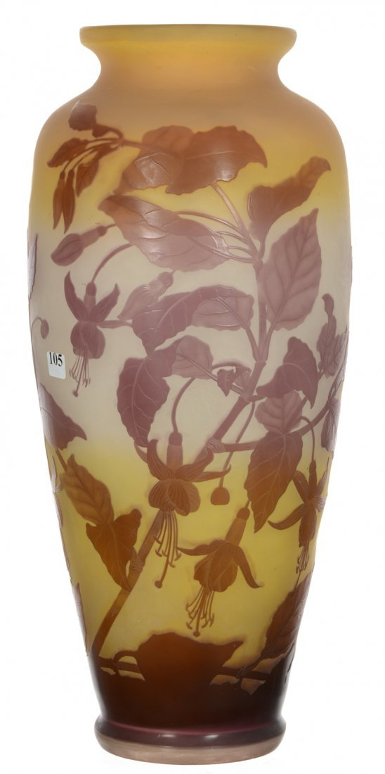 "18 1/4"" X 8"" SIGNED GALLE FRENCH CAMEO ART GLASS VASE"
