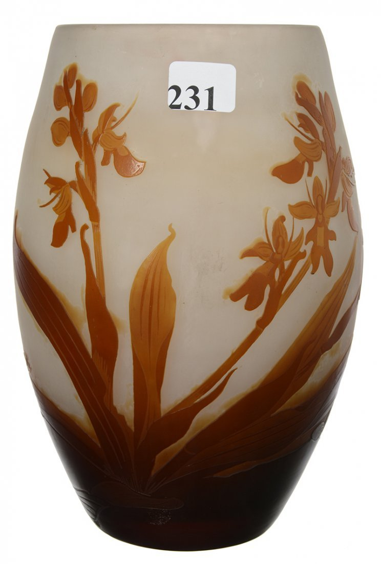 """7 1/2"""" X 5"""" SIGNED GALLE FRENCH CAMEO ART GLASS BARREL"""