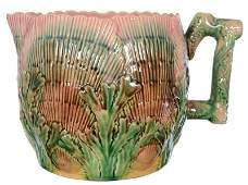 "5 1/2"" X 8 1/2"" MARKED ETRUSCAN MAJOLICA CIDER PITCHER"