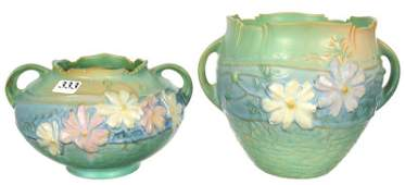 (2) ROSEVILLE ART POTTERY TWO HANDLED VASES IN COSMOS