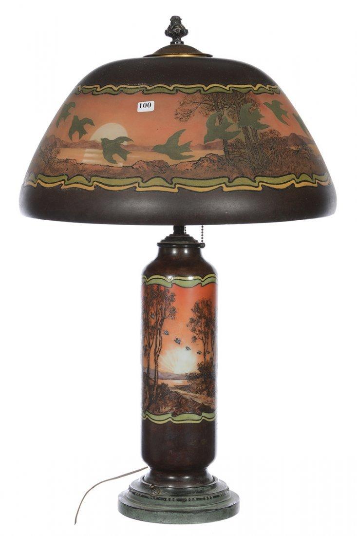 "RARE 28"" X 17 1/2"" MOE BRIDGES ART GLASS LAMP"