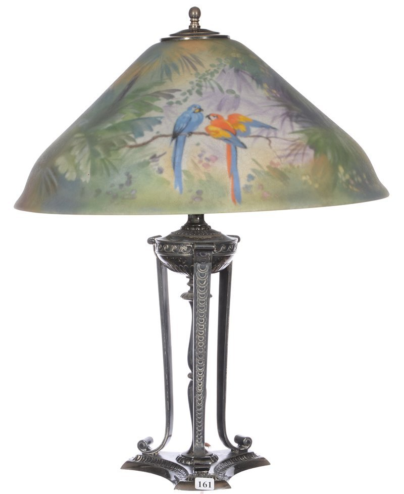 """22"""" X 18"""" MARKED PAIRPOINT REVERSE PAINTED TABLE LAMP"""