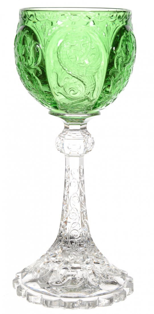 """WINE GLASS - 6 5/8"""" - SIGNED FRITCHIE SOLID GREEN BOWL"""