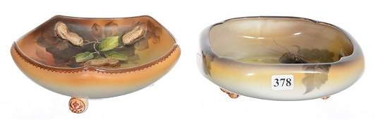 (2) FOOTED BLOWN MOLD NUT BOWLS