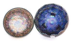 2 FENTON TWO FLOWER BLUE FOOTED ROSE BOWLS