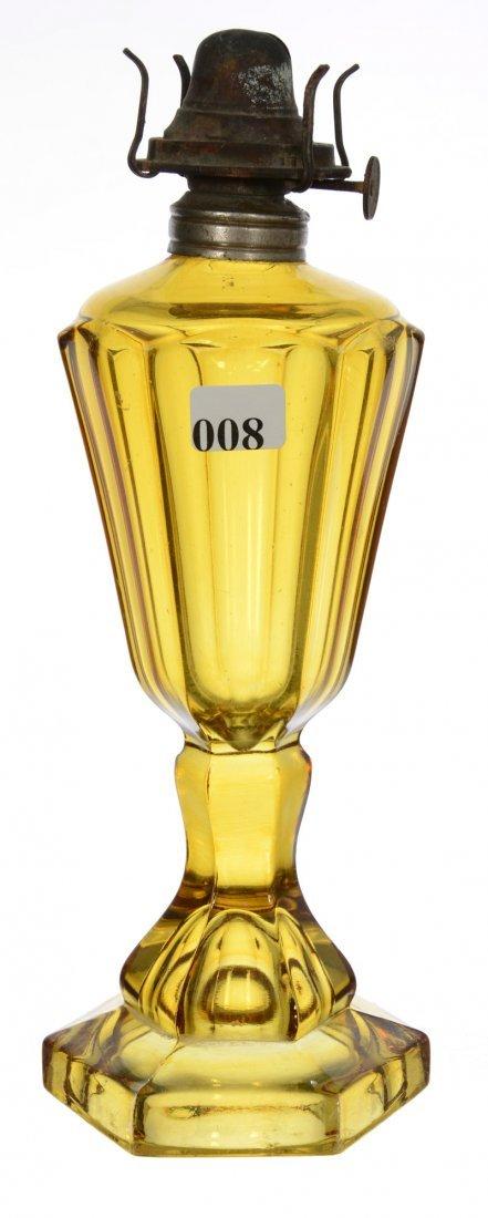 """10 3/4"""" SOLID AMBER KEROSENE OIL LAMP"""