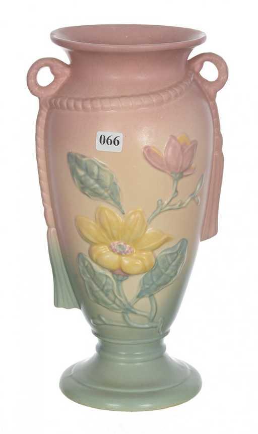 Hull Art Pottery 21 12 12 Pedestal Two Handled Vase