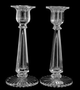"Pair Candlestick Holders - 9"" - Abcg - Signed Hawkes"