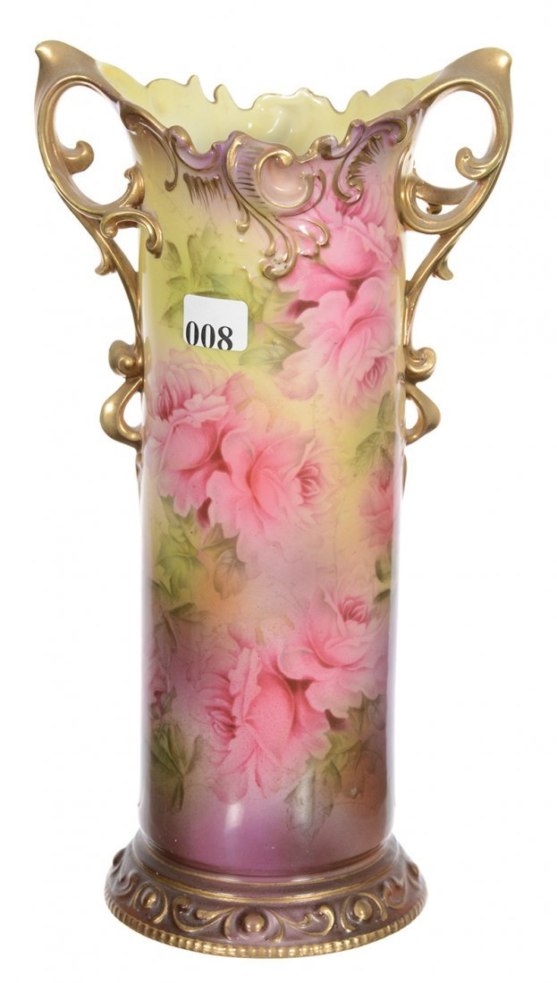 "11 1/4"" ROYAL VIENNA TWO-HANDLED CYLINDER VASE"