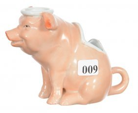 """4"""" Unmarked Germany Figural Pig Chamberstick With"""