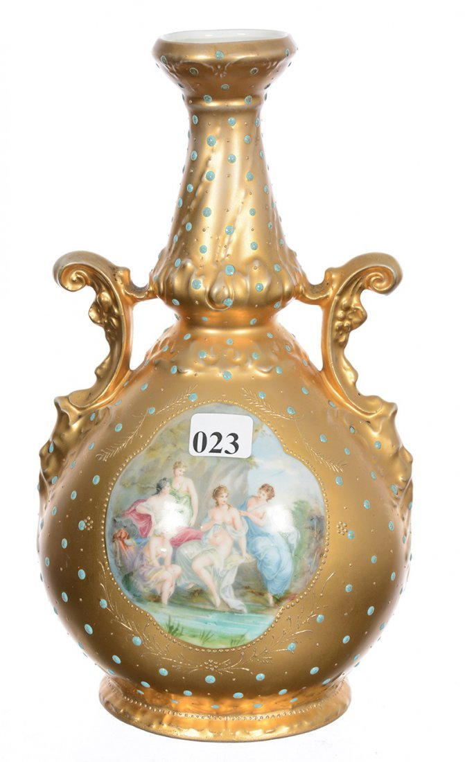 "10"" ROYAL SAXE TWO-HANDLED VASE"