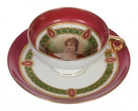 MARKED ST. KILLIAN PEDESTAL CUP AND SAUCER