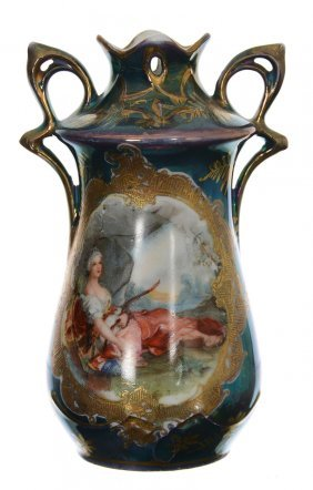 "4 1/2"" Royal Vienna Two-handled Miniature Vase"