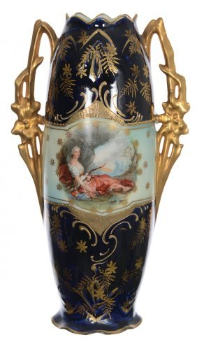 "7 1/2"" Unmarked Royal Vienna Two-handled Vase"