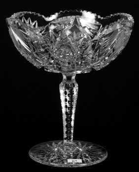 """10 1/2"""" X 9 1/4"""" American Brilliant Cut Glass Compote"""