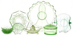Ten Piece Vintage Green Depression Glass Items