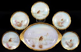 Six Piece Marked Limoges Fish Set