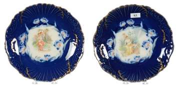 """PAIR 8"""" UNMARKED LIMOGES STYLE SCENIC PLATES"""