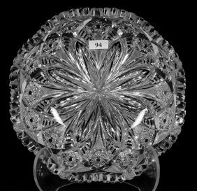 "2 1/2"" X 9"" Signed Libbey American Brilliant Cut Glass"