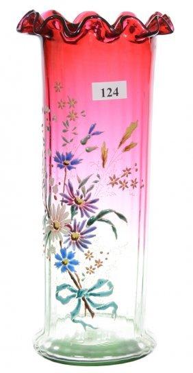 "10"" Rubina Verde Art Glass Cylinder Vase"