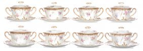 (8) Limoges Covered Bouillon Cups And Saucers