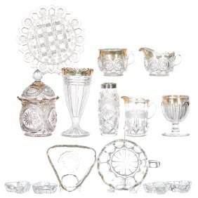 (14) Pattern Glass And Cut Glass Items